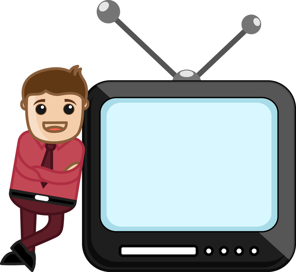 Cartoon Character With Tv - Vector Illustration