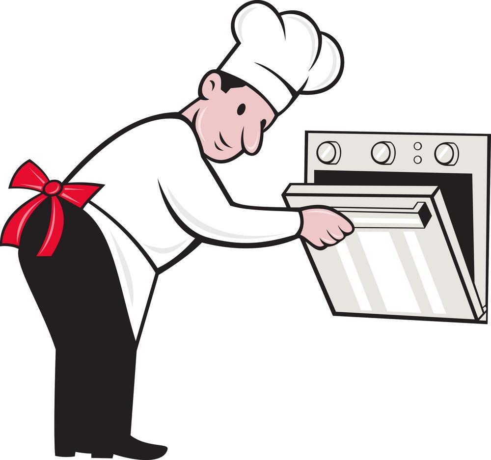 Cartoon Chef Baker Cook Opening Oven