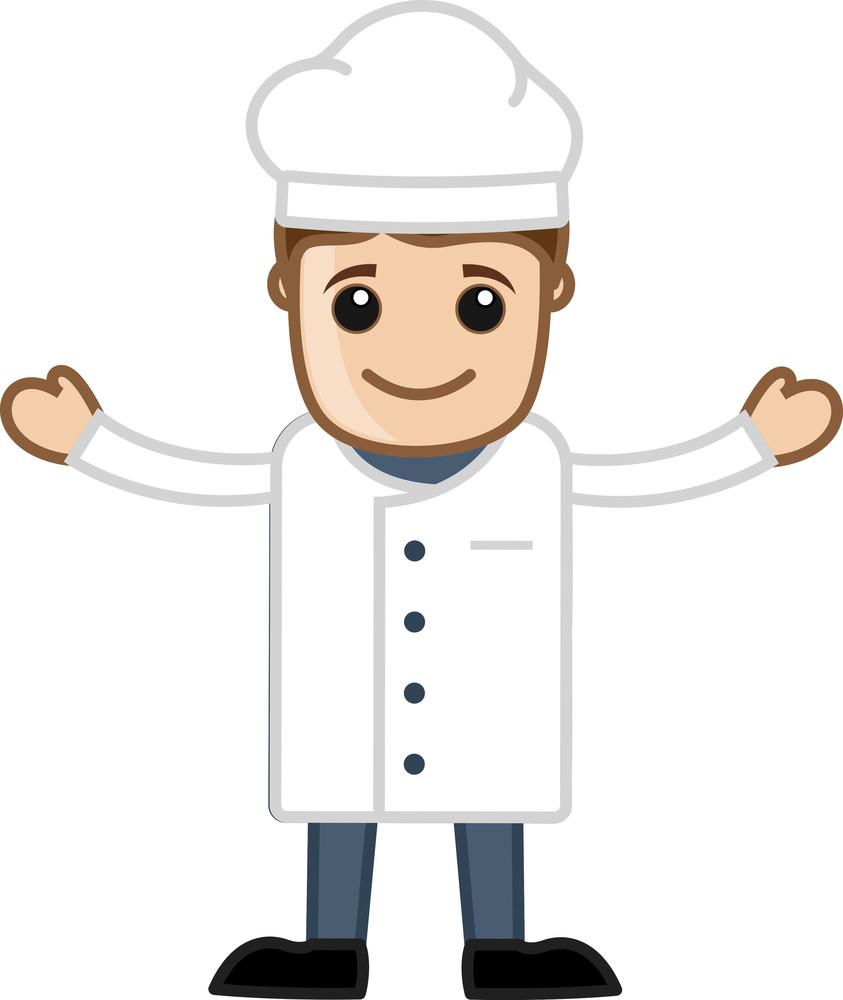 Cartoon Chef Man Raising Hands