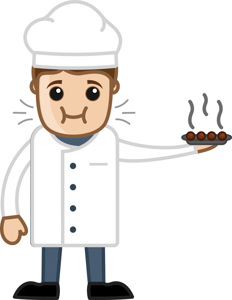 Cartoon Chef Tasting His Own Dish Vector