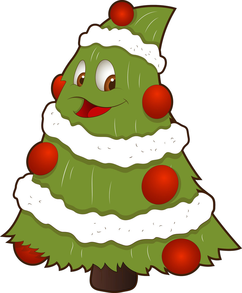 Cartoon Christmas Tree Character Royalty-Free Stock Image ...