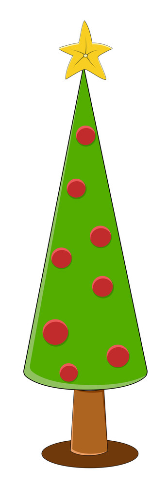 Cartoon Christmas Tree - Christmas Vector Illustration