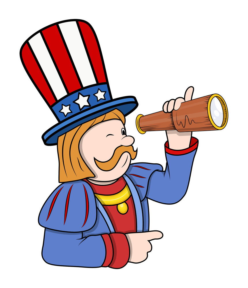 Cartoon Columbus Character With Binocular Vector Illustration