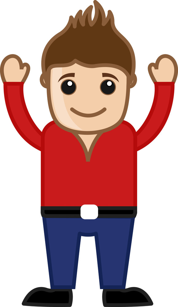 Cartoon Cool Man In Red Shirt - Vector
