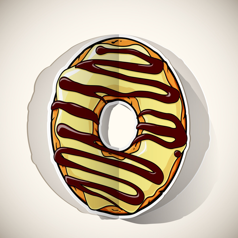 Cartoon Donut Cut Out From Paper. Vector Collection.