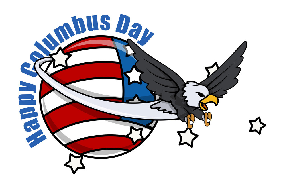 Cartoon Eagle Columbus Day Vector Graphic
