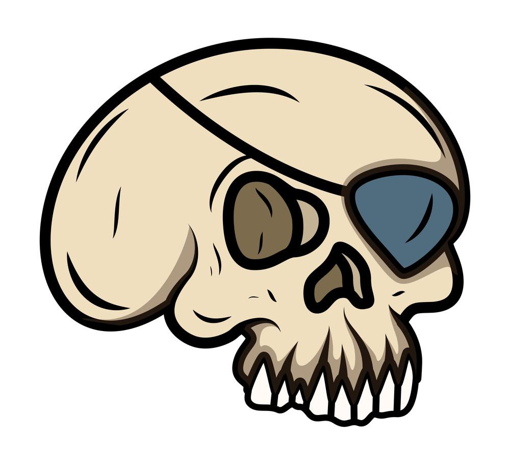 Cartoon Eye Patched Skull - Vector Cartoon Illustration