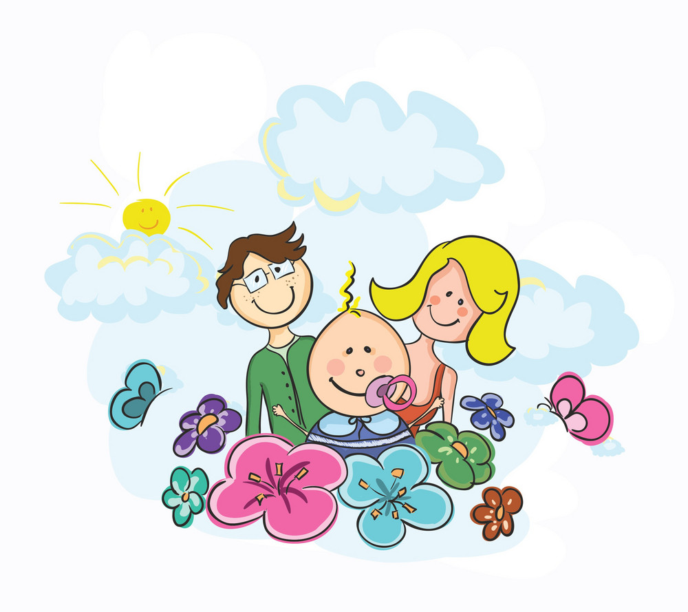 Cartoon Family Vector Background
