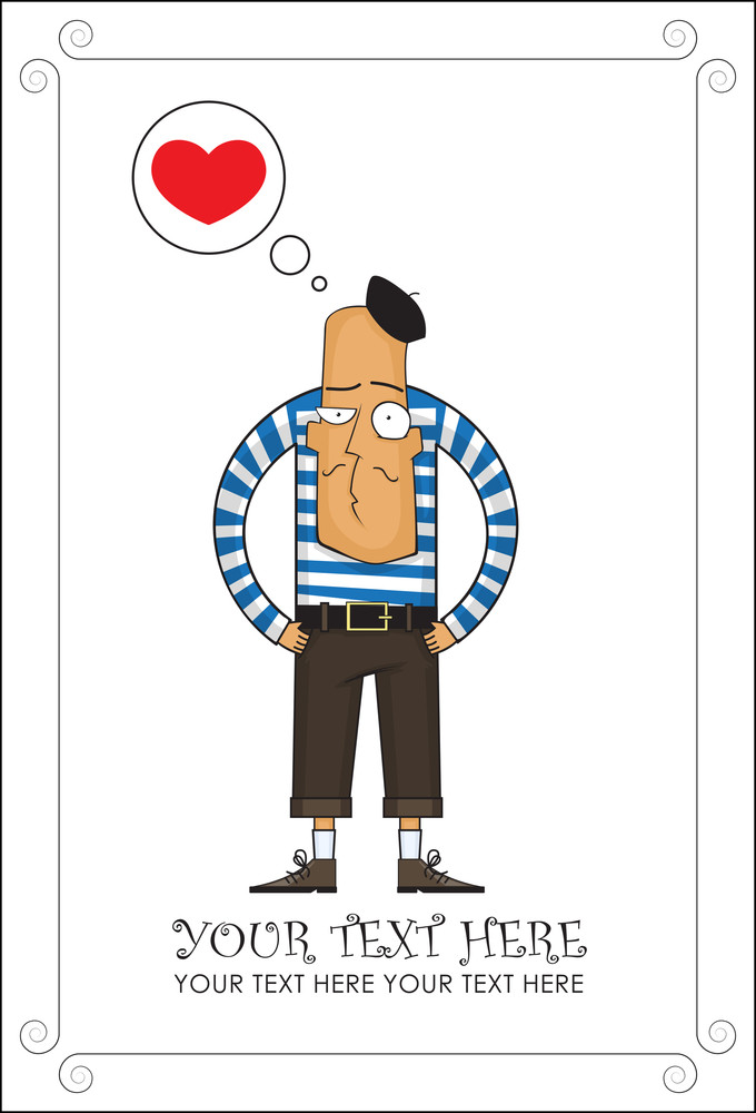 Cartoon French Man Vector Illustration.