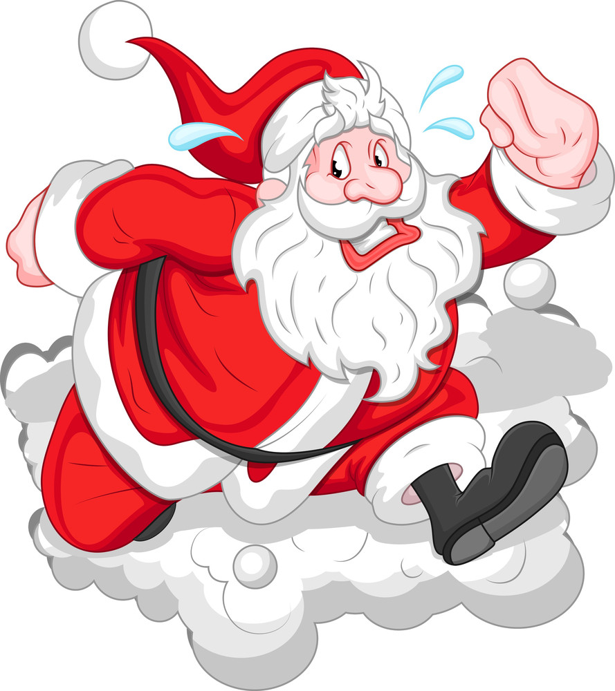 Cartoon funny santa christmas vector illustration