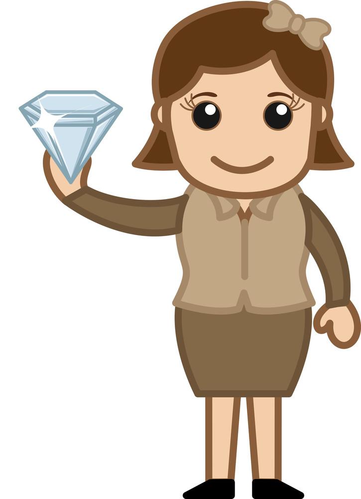 Cartoon Girl Holding A Diamond