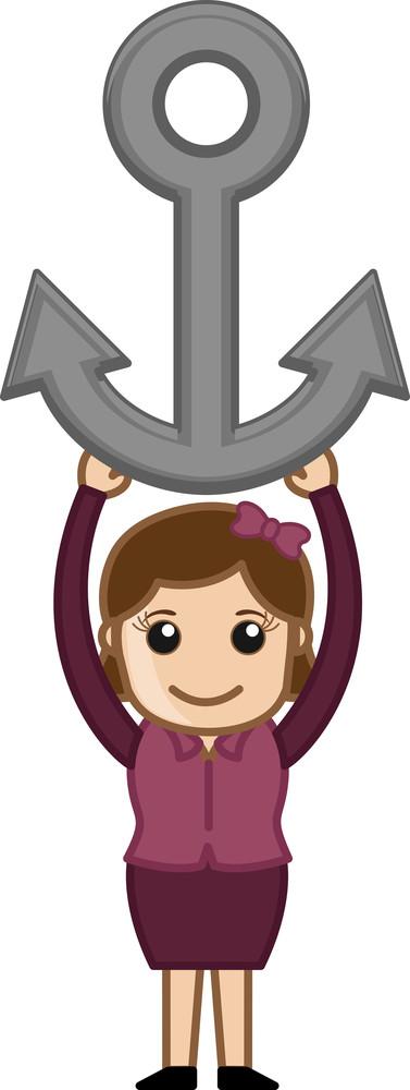 Cartoon Girl Holding Anchor