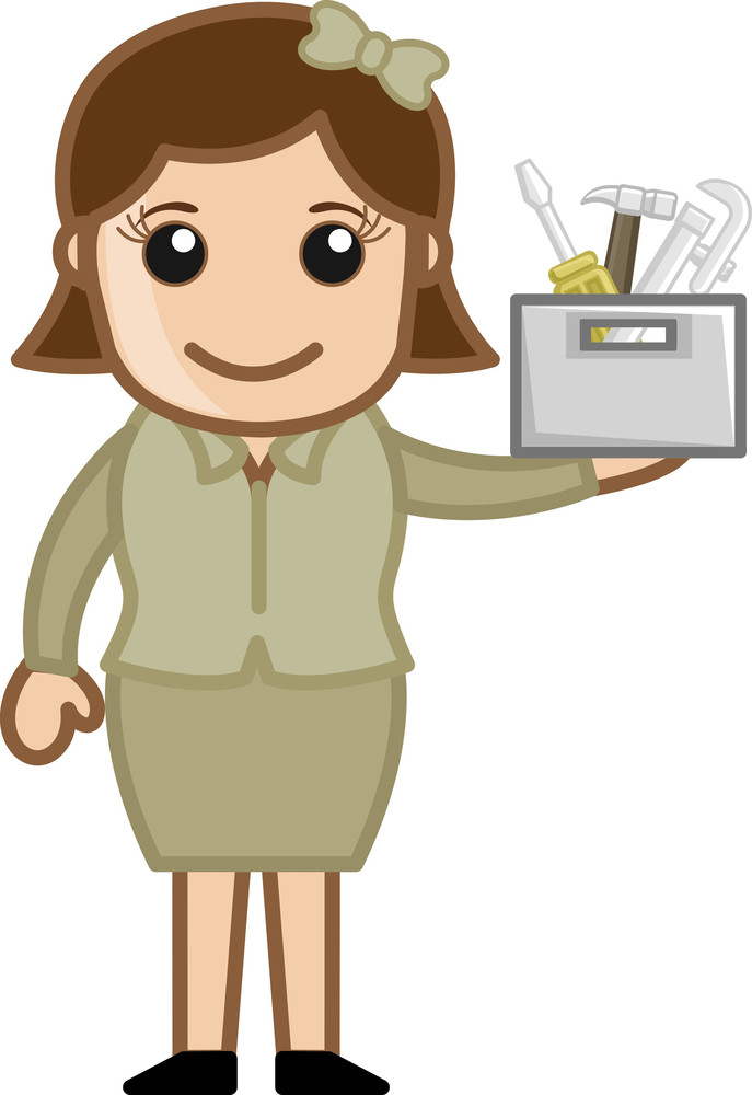 Cartoon Girl Holding Toolbox - Repair And Fixing Concept