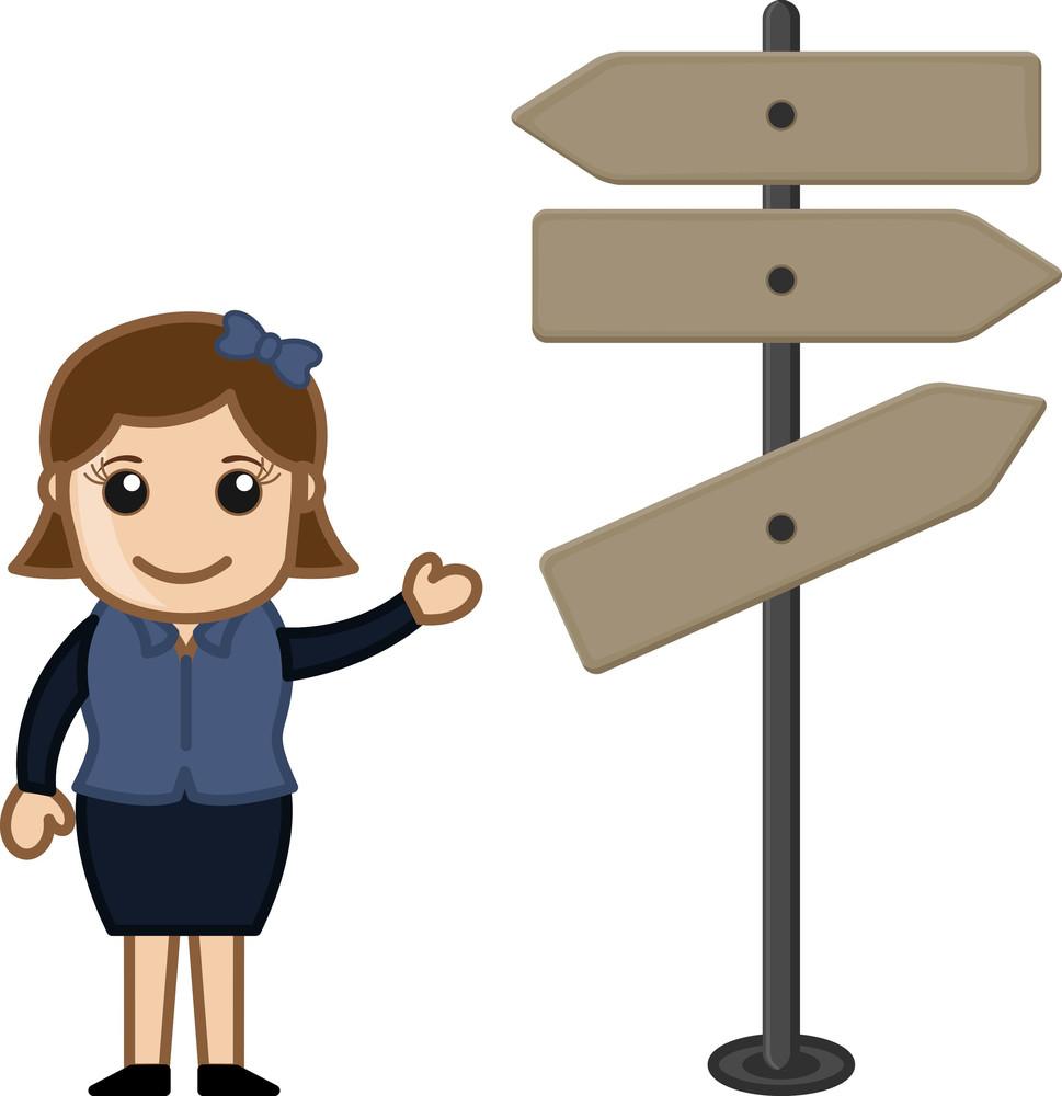 Cartoon Girl Presentinng Way Sign Board