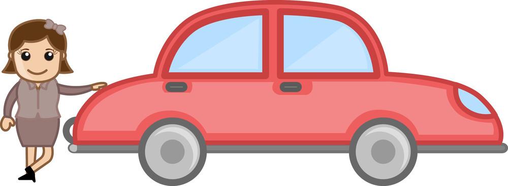 Cartoon Girl Standing With Car