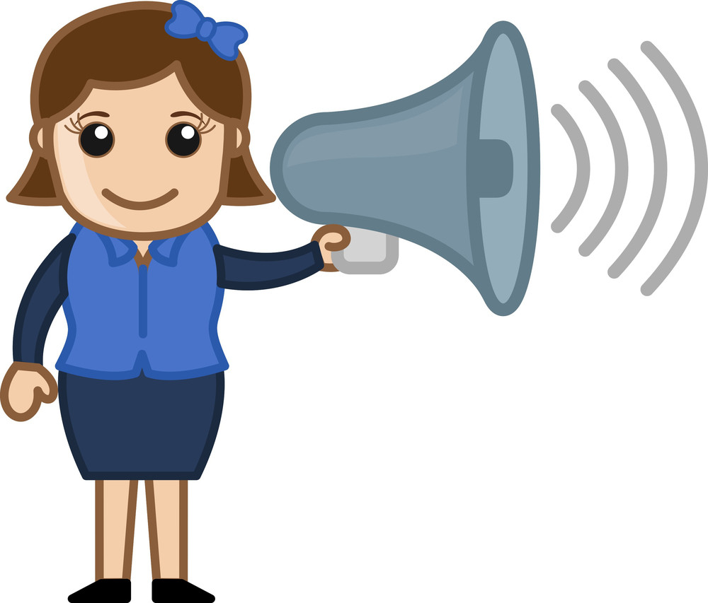 Cartoon Girl With Speaker - Vector Illustration