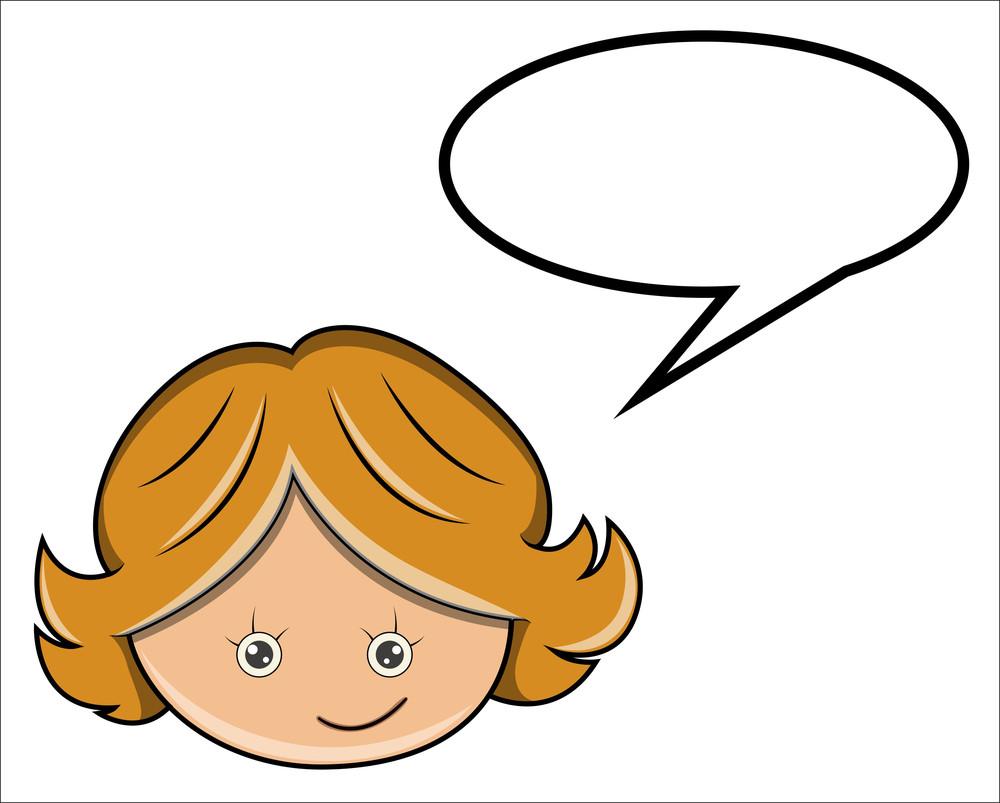 Cartoon Girl With Speech Bubble - Vector Cartoon Illustration