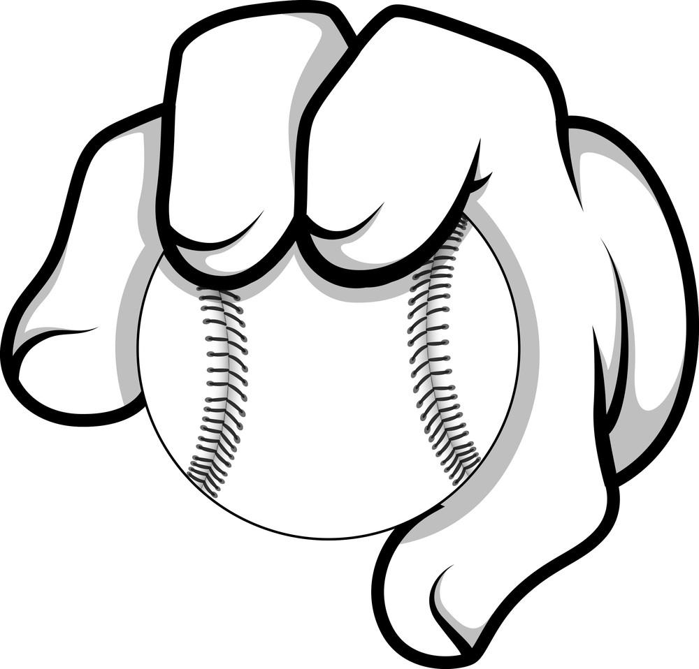Cartoon Hand - Baseball - Vector Illustration