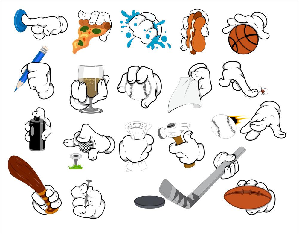Cartoon Hand Gestures - Vector Illustration