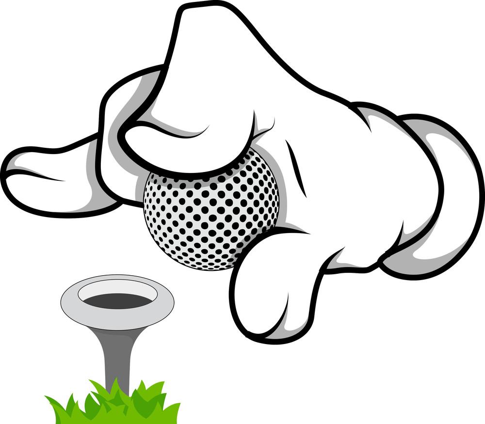 Cartoon Hand - Golf - Vector Illustration
