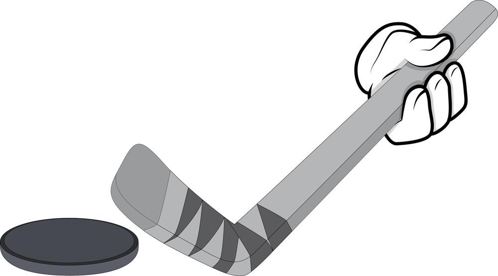 Cartoon Hand - Hockey - Vector Illustration