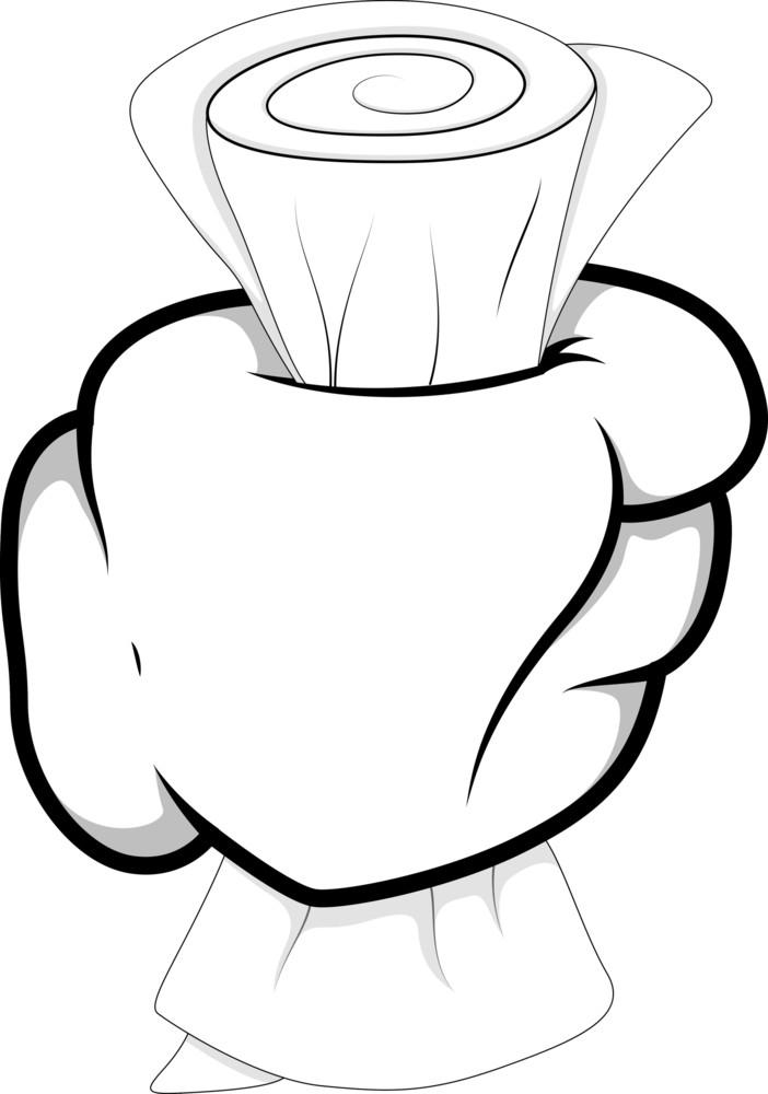 Cartoon Hand - Holding Paper - Vector Illustration
