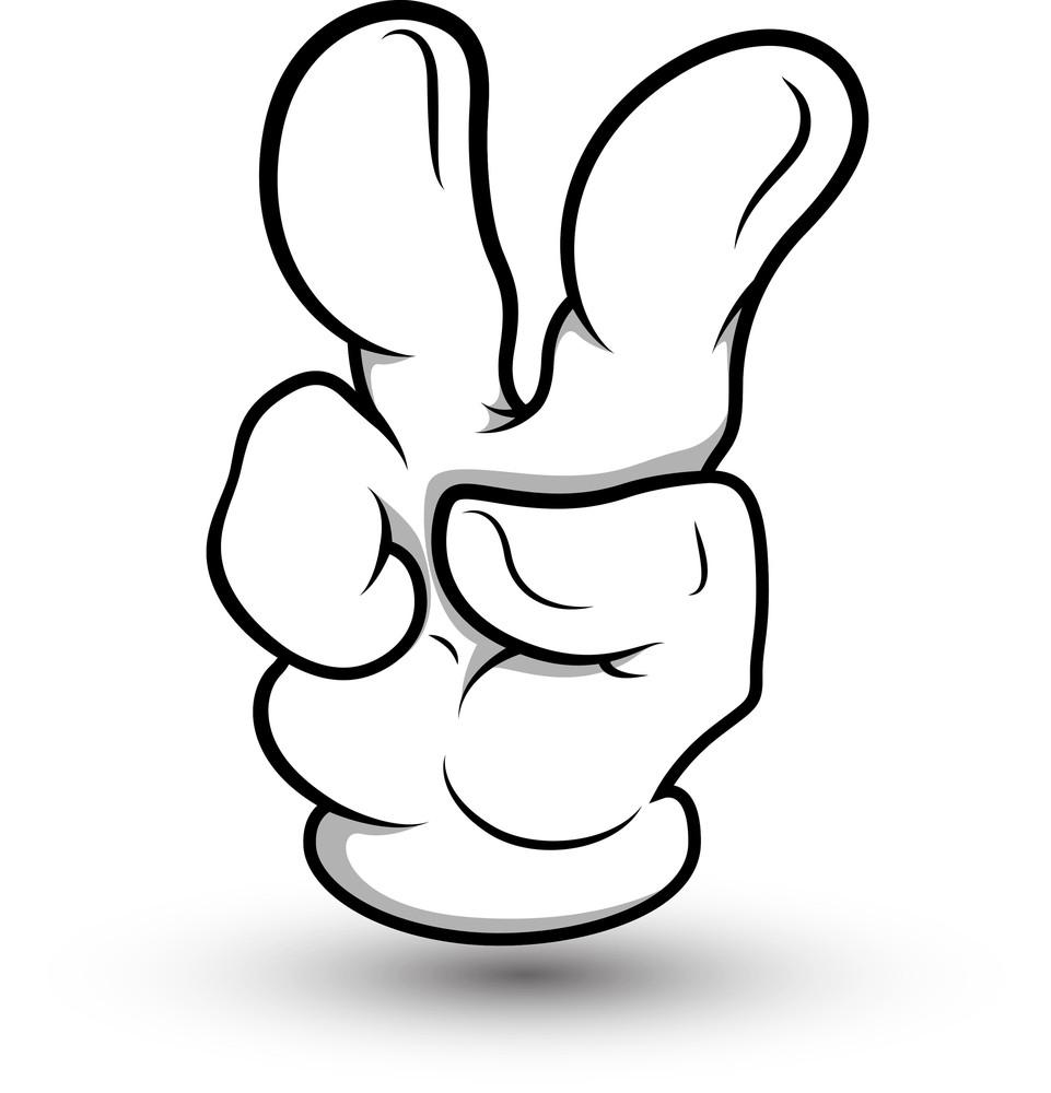 Cartoon Hand - Two Finger - Vector Illustration