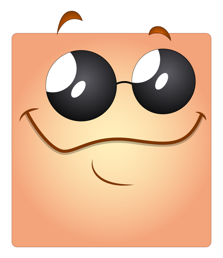 Cartoon Happy Face With Sunglasses Vector Smiley