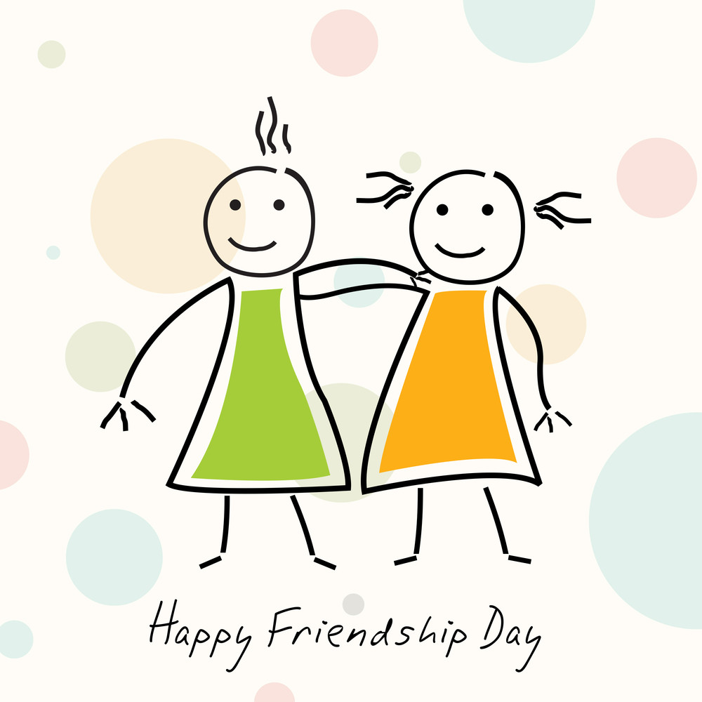 Cartoon Illustration Of Two Girls On Abstract Background For Happy Friendship Day