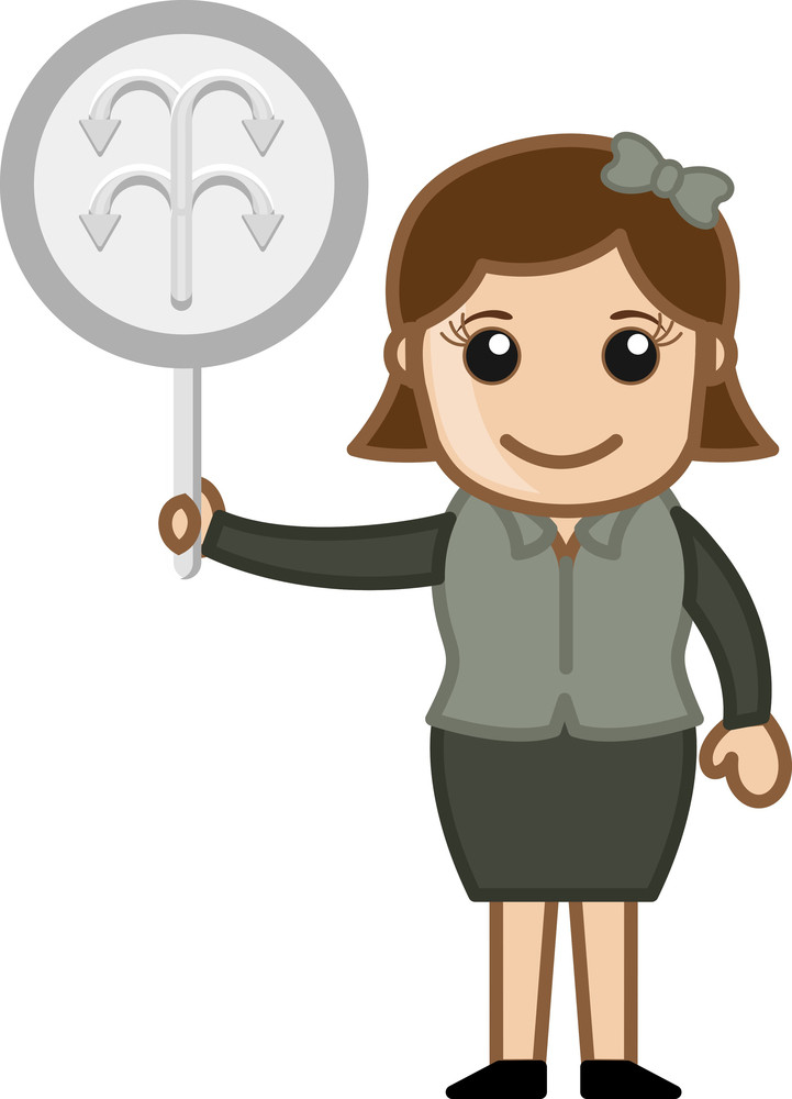 Cartoon Lady Showing Arrow Sign