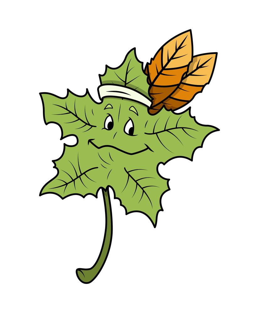 Cartoon Leaf Happy Face Vector
