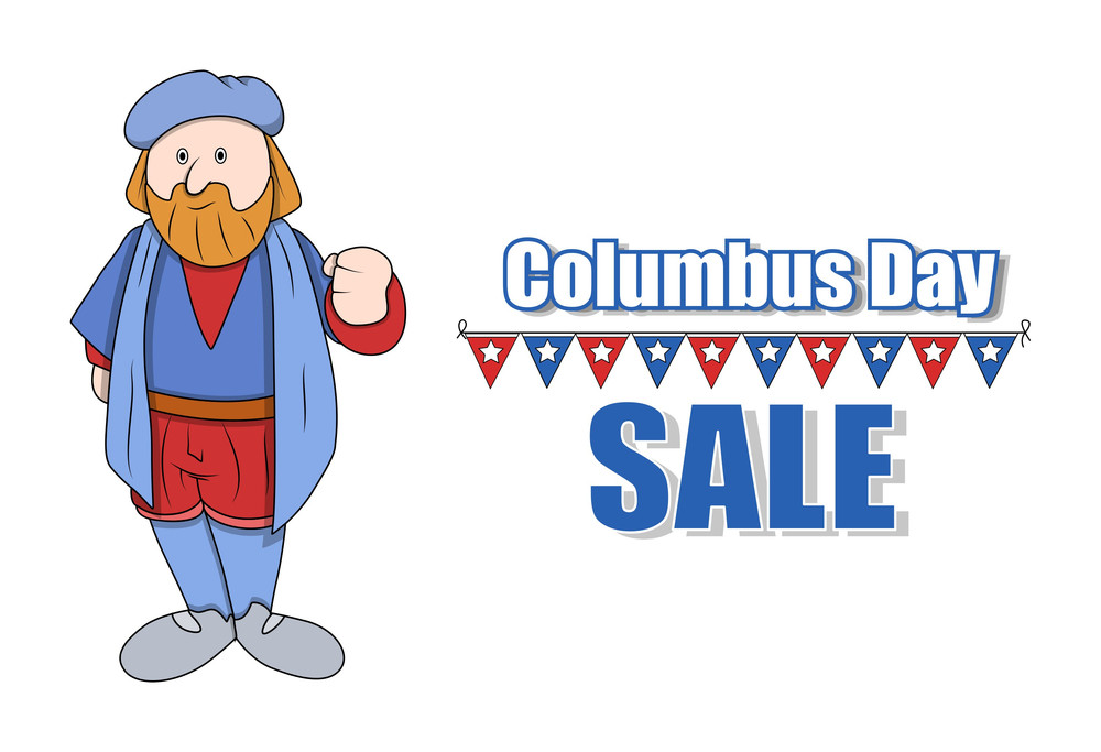 Cartoon Man Columbus Sale Banner Graphic