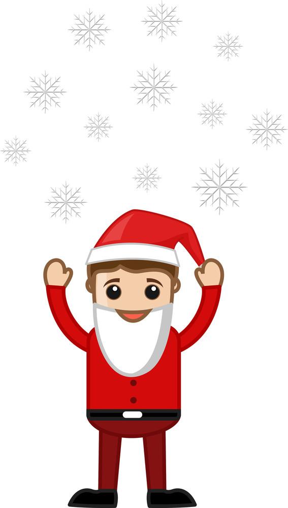 Cartoon Man In Santa Costume - Snowflakes Floating In Air