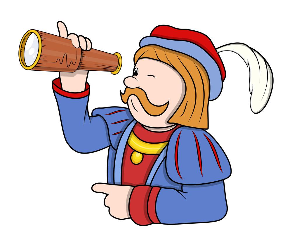 Cartoon Man Searching With Binocular Vector
