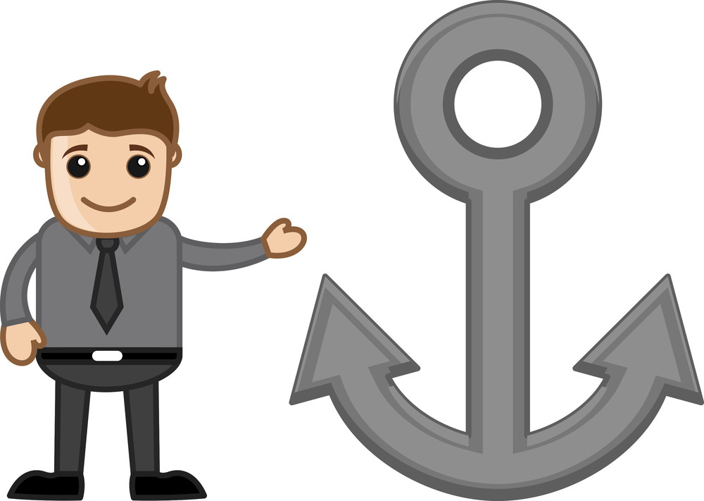 Cartoon Man Showing Anchor