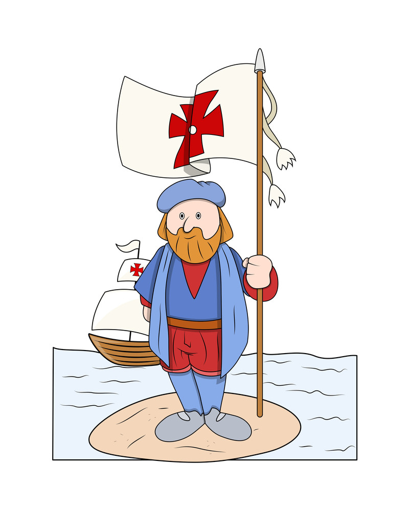 Cartoon Man Standing With Flag At Island