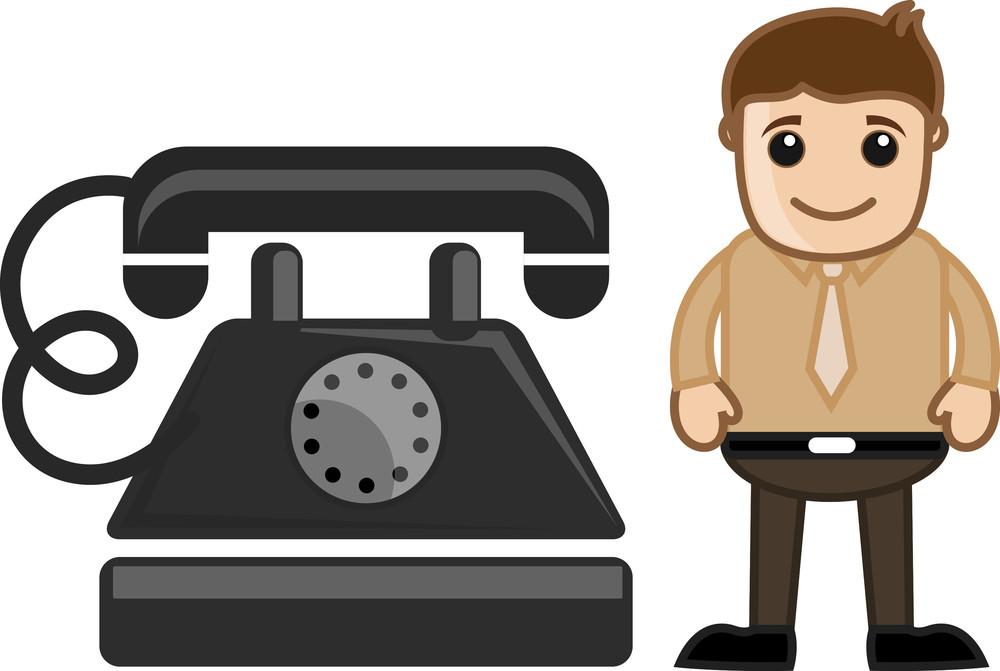 Cartoon Man With An Old Phone