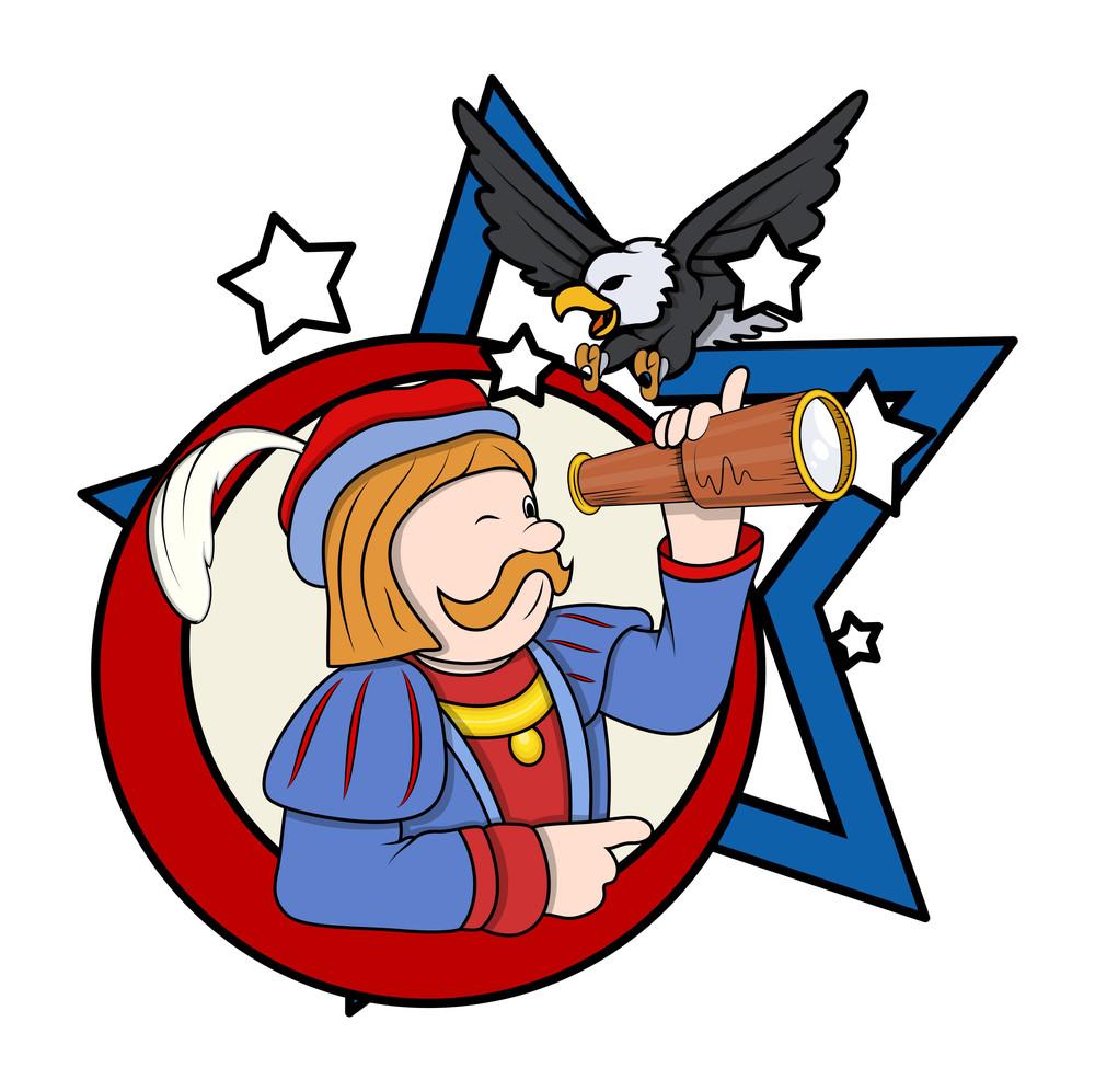 Cartoon Man With Binocular And Eagle Vector