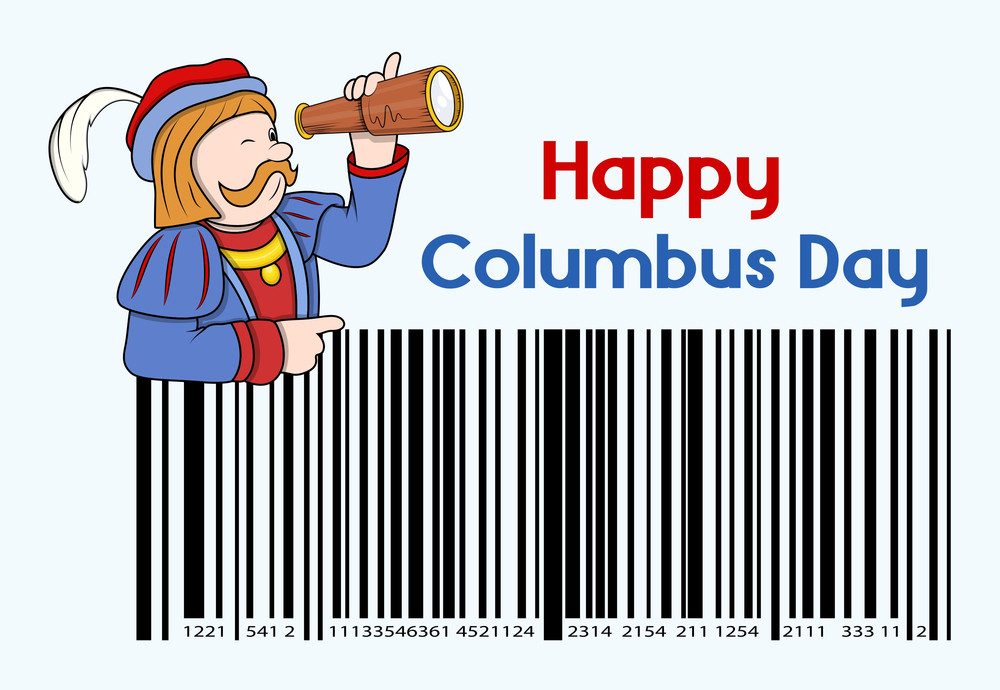 Cartoon Man With Columbus Day Barcode Graphic