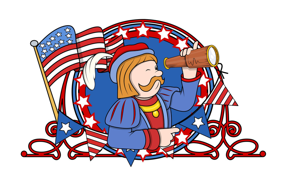 Cartoon Man With Telescope And Retro Frame Vector