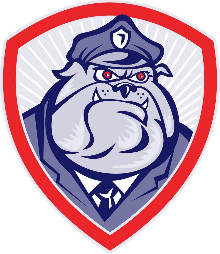Cartoon Police Dog Watchdog Bulldog Shield