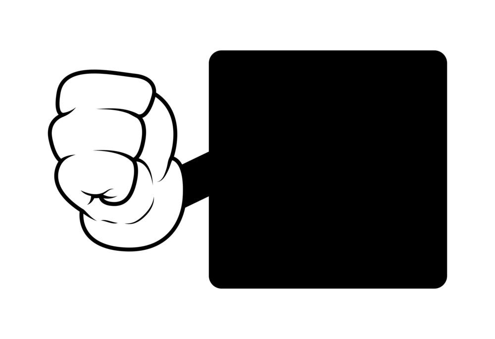 Cartoon Punch Black Shape Banner