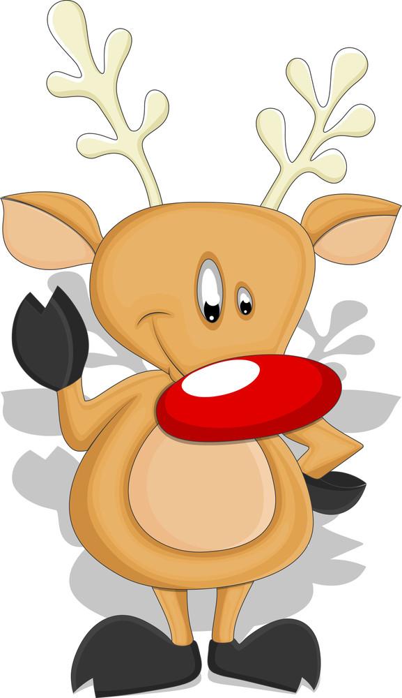 Cartoon Reindeer - Christmas Vector Illustration