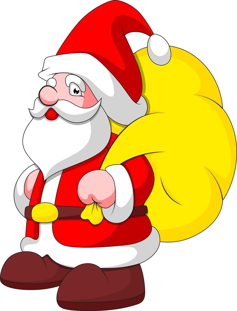 Cartoon Santa With Bag - Christmas Vector Illustration