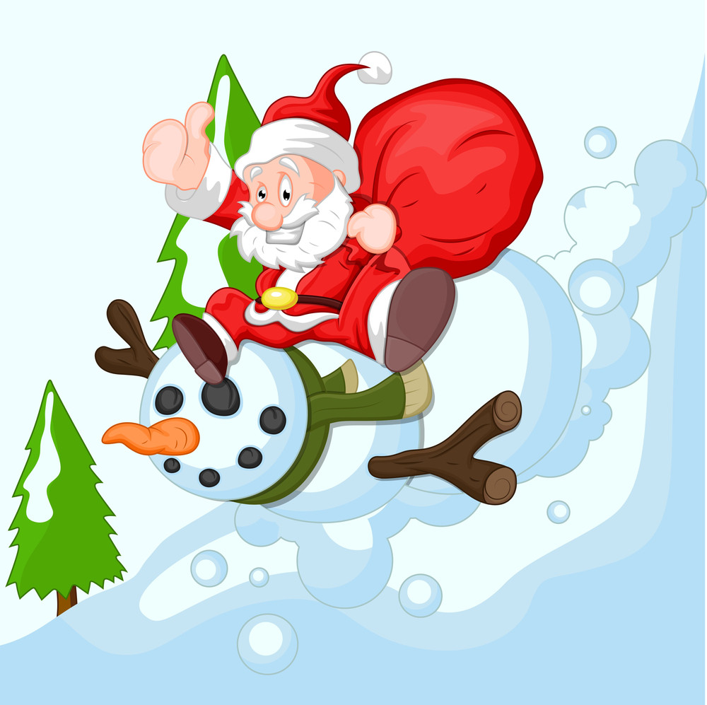 Cartoon Santa With Snowman