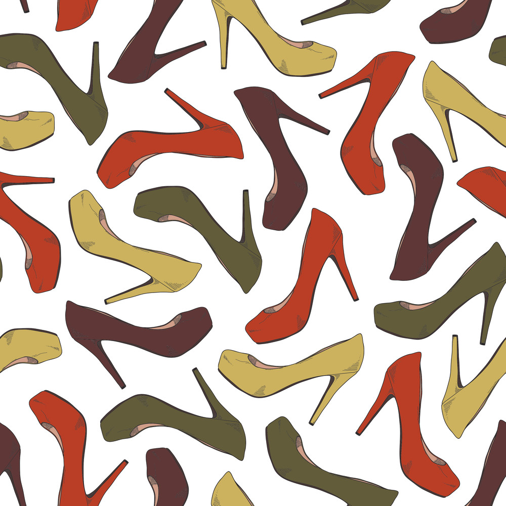 Cartoon Shoes Seamles Texture. Vector Illustration