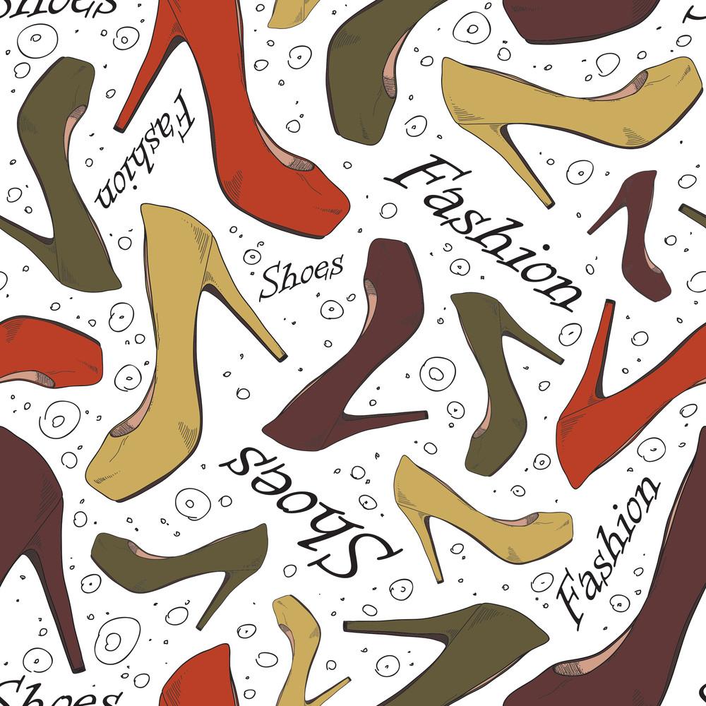 Cartoon Shoes Seamles Texture. Vector Illustration