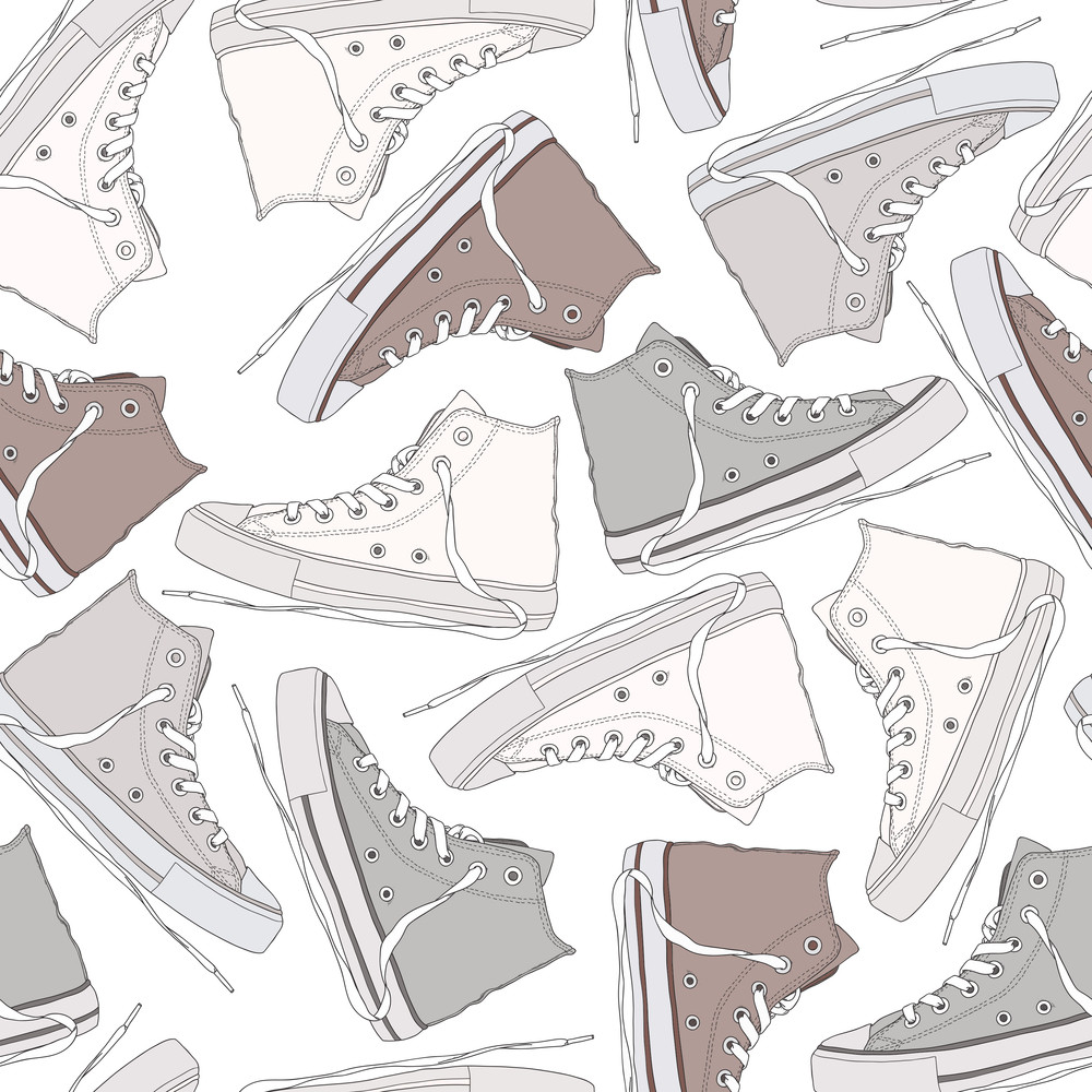 Cartoon Sneakers Seamless Texture. Vector Illustration