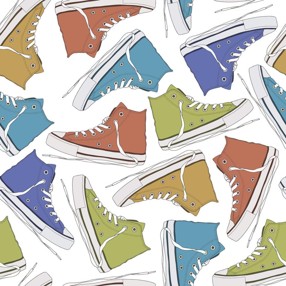 Cartoon Sneakers Seamless Texture. Vector Illustration