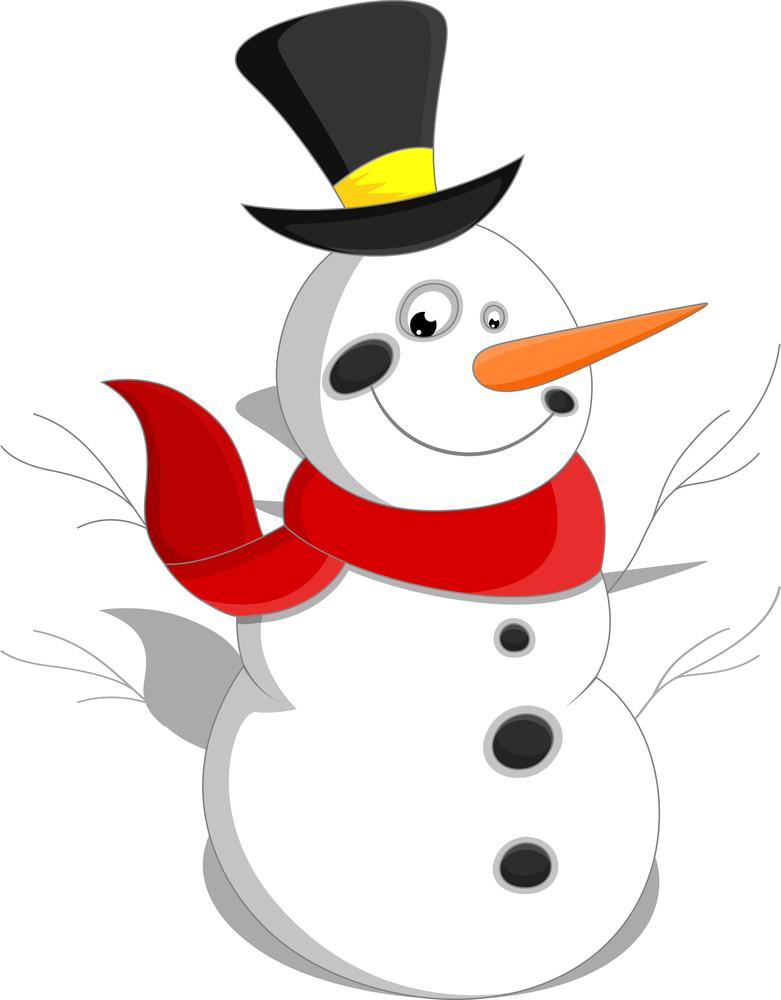 Cartoon Snowman - Christmas Vector Illustration